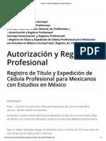 Registro de Título y Expedición de Cédula Profesional