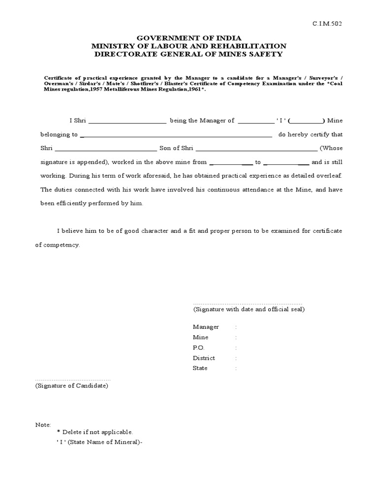 DGMS Mines Experience Certificate – Experience Certificate Formats