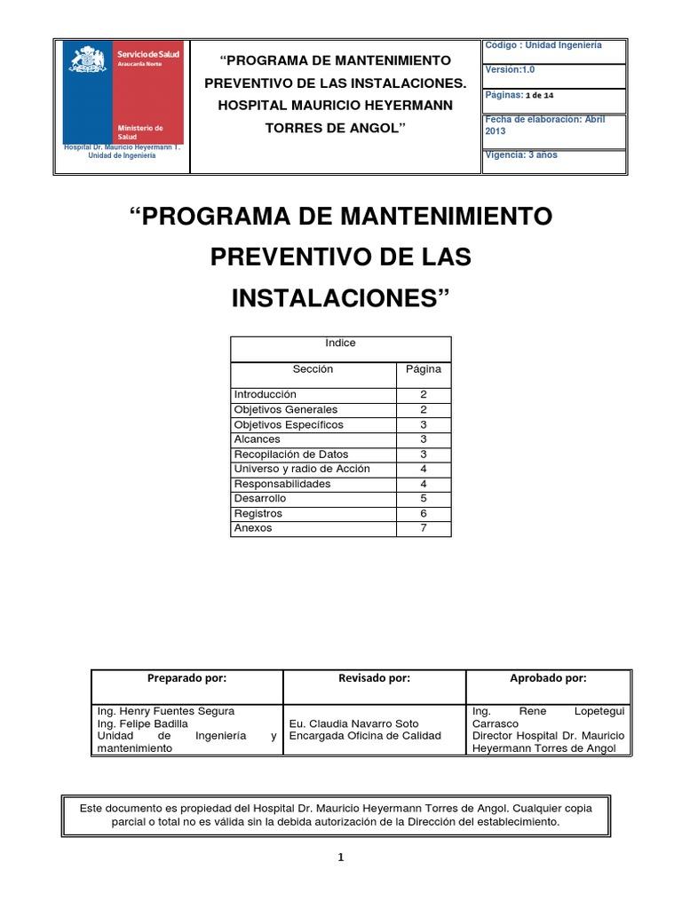 Programa de Mantenimiento Preventivo Instalaciones