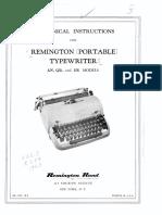Mechanical Instructions Remington Portable Typewriters 1953