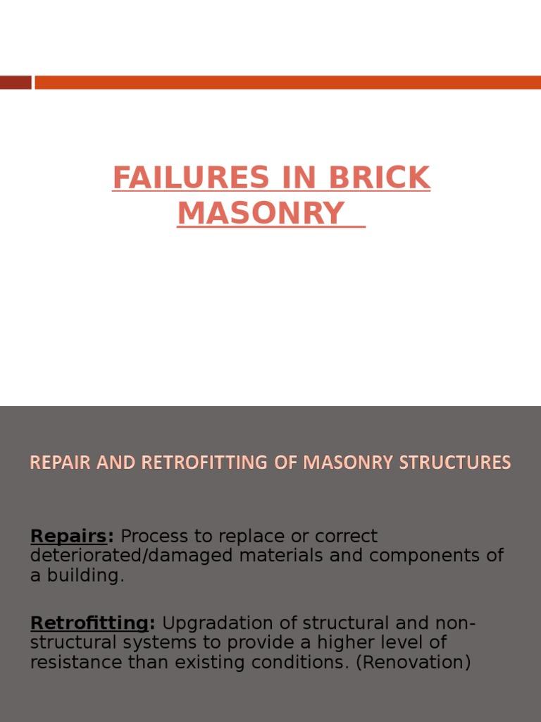 Failures in Brick Masonry - PPT | Masonry | Concrete