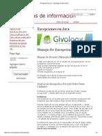 Excepciones en Java - Tecnologías de Información