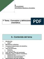 TEMA 1. Conceptos y Definiciones en Cinemática.