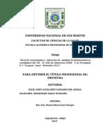 """""""Nivel de conocimiento y aplicación de medidas de bioseguridad en estudiantes del VIII - IX ciclo de obstetricia UNSM - T en el hospital II-2 Tarapoto. Junio - Setiembre 2012"""