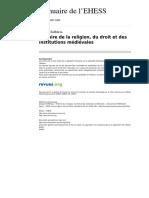 CHIFFOLEAU:Histore de La Religion, Du Droit Et Des Institutions Medioevales