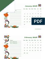 2016 Monthly Calendar Landscape 02