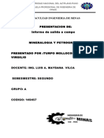 Imforme de Mineralogia