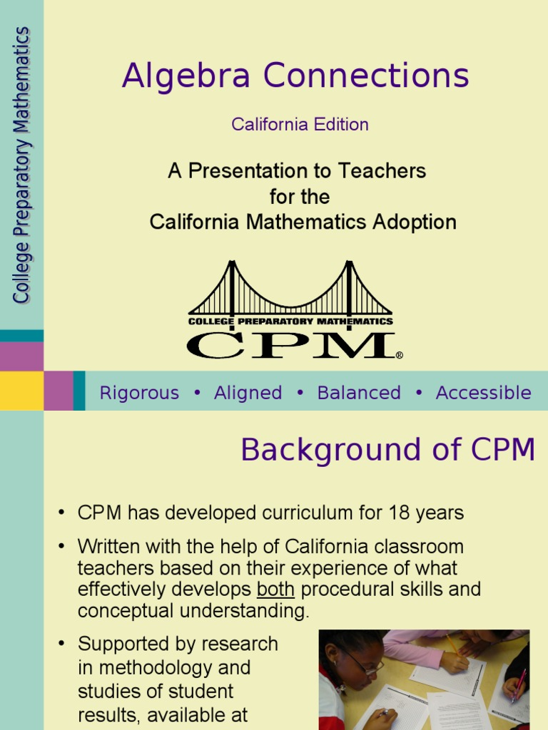CPM CA Algebra Connections Overview   Equations   Teachers