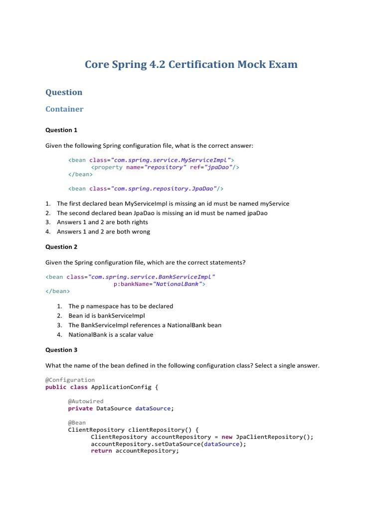Spring certification 42 mock exam spring framework unit testing xflitez Images