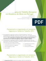 Gestão de Segurança Do Trabalho Europeia Em Estaleiros de Obras Em Portugal