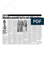 EDUCATION POWERFUL TOOL TO END CHILD MARRIAGE