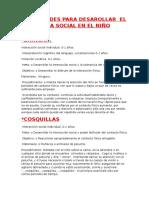 Actividades Para Desarollar El Área Social en El Niño