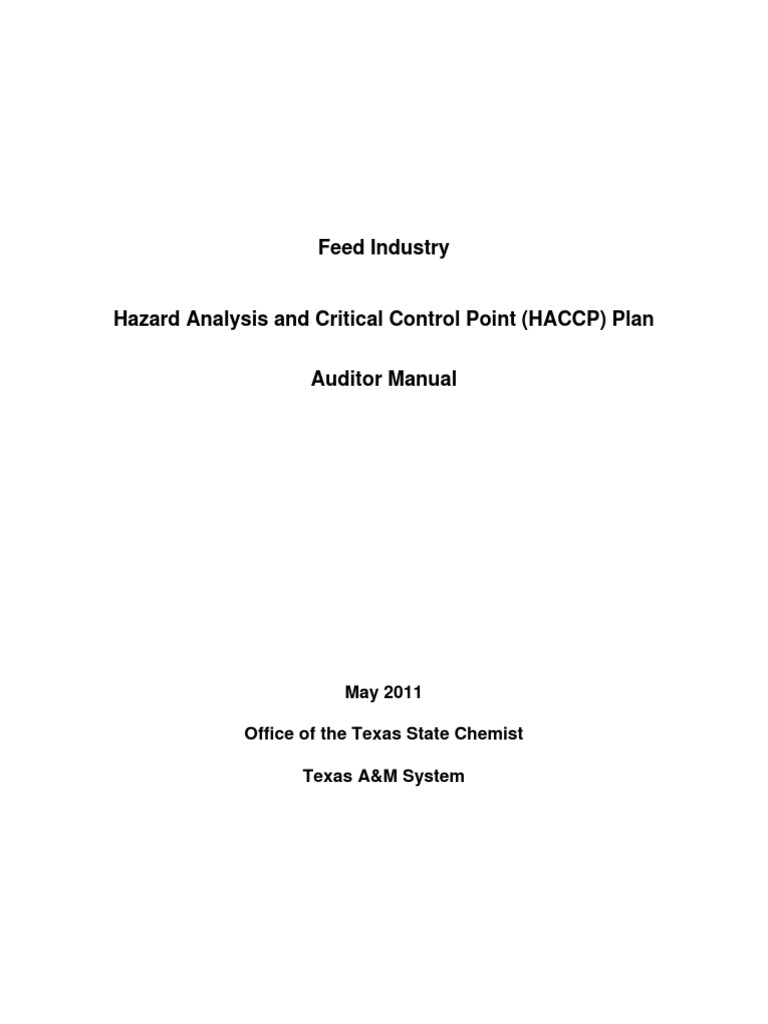 Feed Industry Haccp Plan Auditor Manual Pdf Hazard Analysis And
