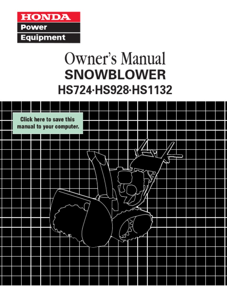 honda hs928 snowblower manual clutch transmission mechanics rh pt scribd com Honda HS928 Shear Pins honda snowblower hs928 repair manual