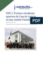 09-02-2016 E-consulta.com - RMV y Fromow encabezan apertura de Casa de Justicia en San Andrés Cholula