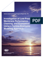 Investigation of Low Pressure Membrane Performance Cleaning and Economics Using a Technoeconomic Model