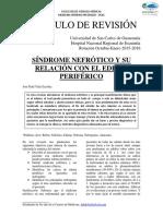 Articulo de Revision Sindrome Nefrotico y Su Relacion Con El Edema Periferico