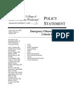 ACEP Emergency Ultrasound Imaging Criteria Compendium