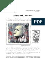 Communiqué de Presse La Poste Timbre Léo Ferré
