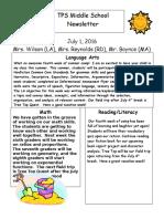 tps middle school newsletter july 1