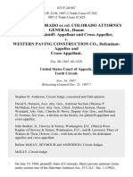 State of Colorado Ex Rel. Colorado Attorney General, Duane Woodard, Plaintiff- and Cross-Appellee v. Western Paving Construction Co., and Cross-Appellant, 833 F.2d 867, 10th Cir. (1987)