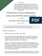 United States v. Anthony Ladarrell Wilson, 72 F.3d 139, 10th Cir. (1995)