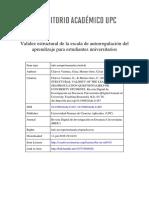 Validez estructural de la escala de autorregulación del aprendizaje para estudiantes universitarios / Structural validity of the learning self-regulation questionnaire for university students