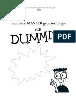 Admitere Master Geomorfologie
