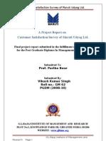 Customer Satisfaction Survey of Maruti Udyog Ltd. Vikash