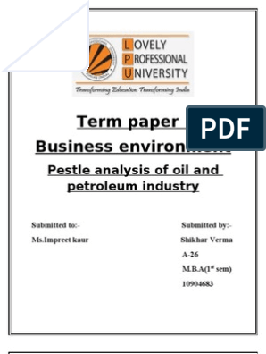 Pestle analysis of oil and petroleum industry | Oil Refinery