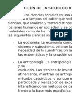 Interaccion de La Sociologia Con Otras Ciencias Sociales