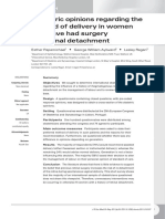 Obstetric Opinions Regarding the Metode of Delivery in Women Had Surgery for Retinal Detachment