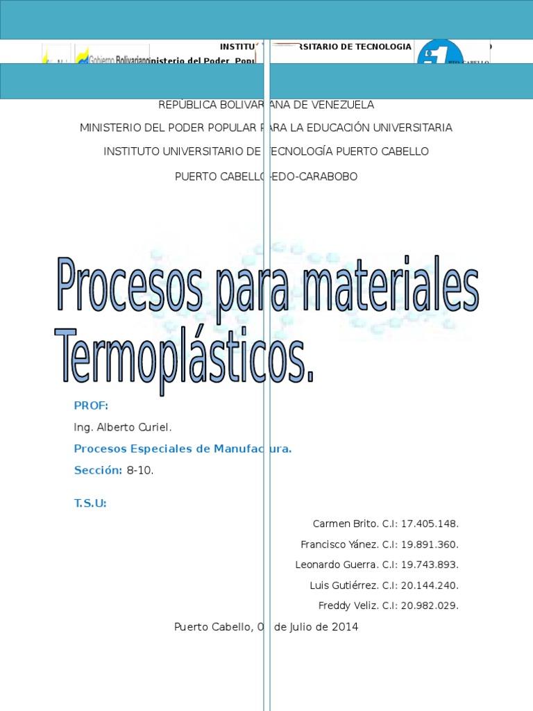 Trabajo de Procesos Termoplasticos