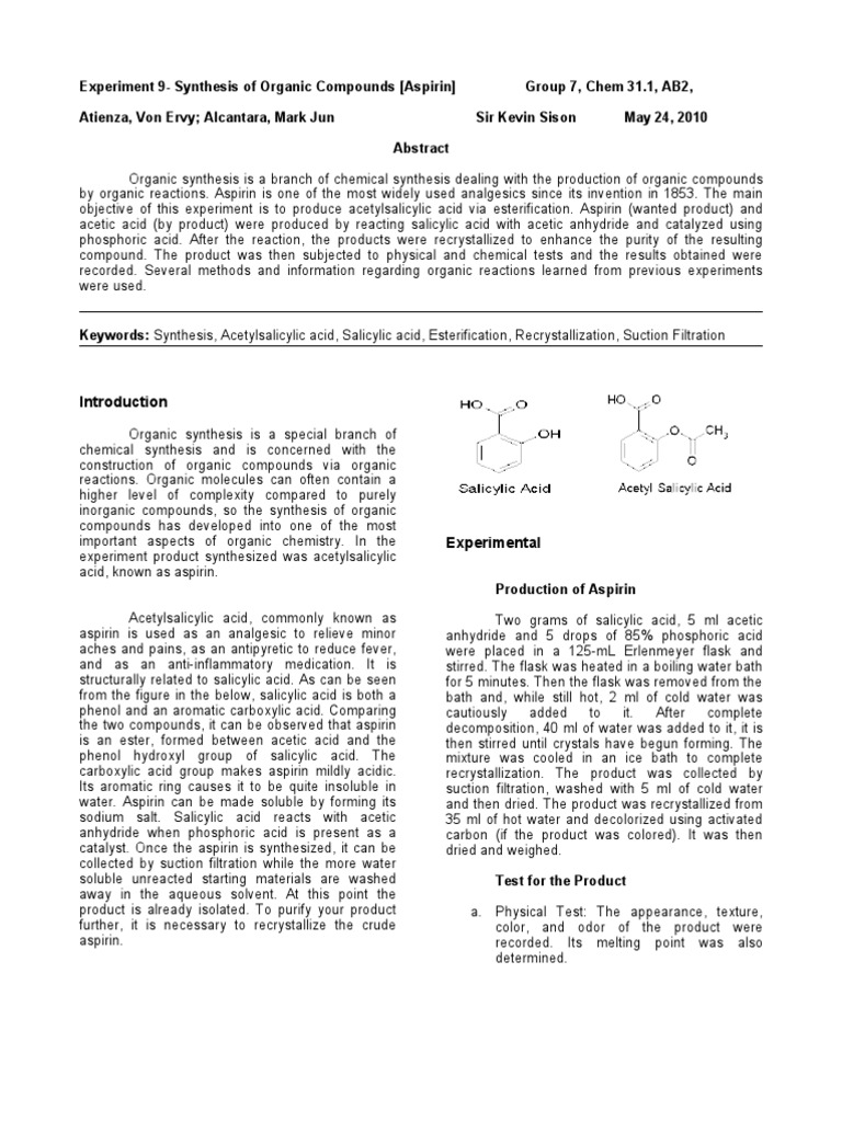 aspirin sythesis Organic analysis and synthesis faculty details proforma for du  an efficient  microscale procedure for syhthesis of aspirin journal of chemical education,.