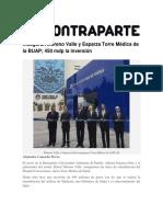 02-03-2016 ContraParte - Inauguran Moreno Valle y Esparza Torre Médica de La BUAP; 450 Mdp La Inversión