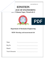 ME2308 Metrology and Measurements Lab Manual