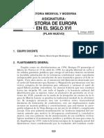 UNED-Historia de Europa en El Siglo XVI (Programa)