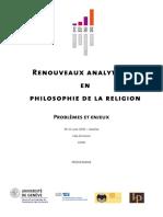 Renouveaux analytiques de la philosophie de la religion