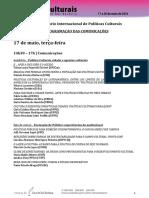 Programaçao VII Seminário Internacional de Políticas Culturais