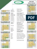 2016-2017 Resurrection School Calendar