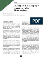 Courbes de Sorption de Vapeur d'Eau Des Sucres Et Des Poudres Alimentaires