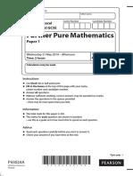 Question Paper Paper 1 June 2014