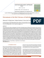 Determinants of the Risk Tolerance of Individual Investors