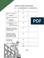 grading rubric for roller coaster paper