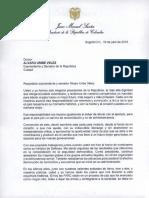 La carta del presidente Santos al senador Uribe buscando acercamiento.
