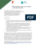 Carta dirigida al Grupo Redactor de la Constitución de CDMX sobre Derecho al Olvido