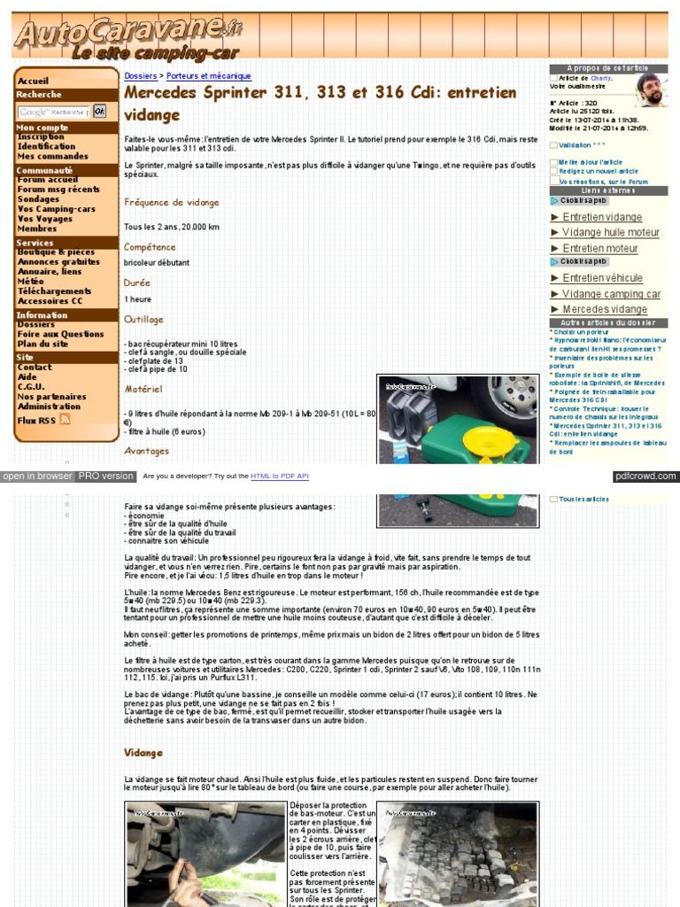 Cambio Olio Motore Mercedes Sprinter 316 Huile De Moteur Piston
