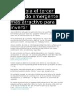 Colombia El Tercer Mercado Emergente Más Atractivo Para Invertir