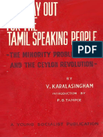 V. Karalasingham -  The Way Out for the Tamil Speaking People, the Minority Problem and the Ceylon Revolution