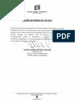 Boletín de Prensa Tribunal Nacional Disciplinario